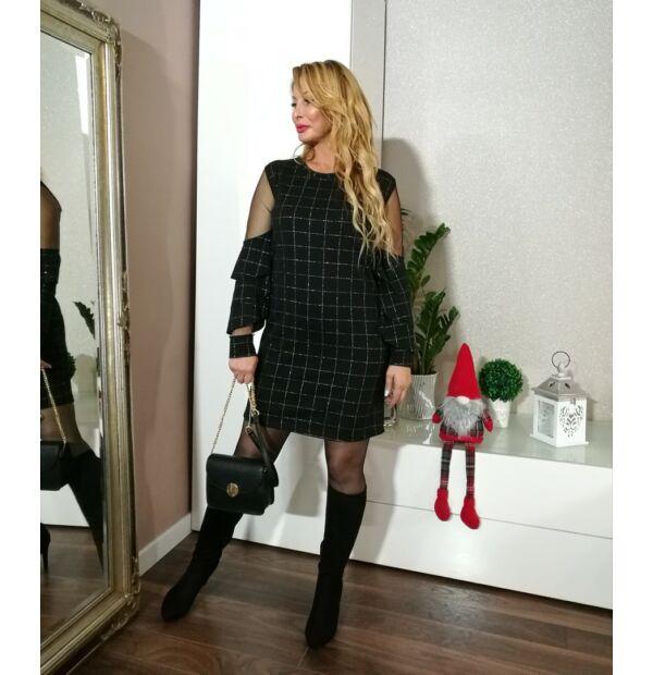 Lorena fekete alapon ezüst kockás alkalmi ruha