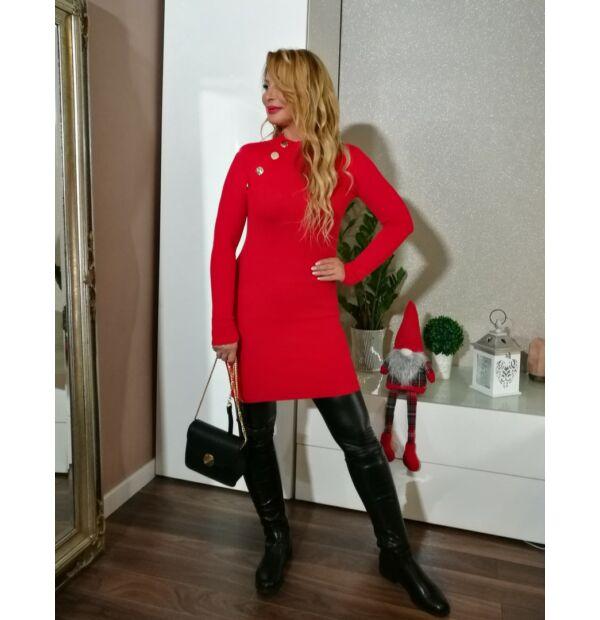Piros gombos kötött tunika-ruha