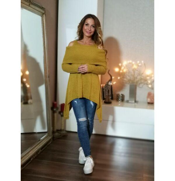 Mustár színű vállrésznél kivágott, harang szabású kötött pulcsi.