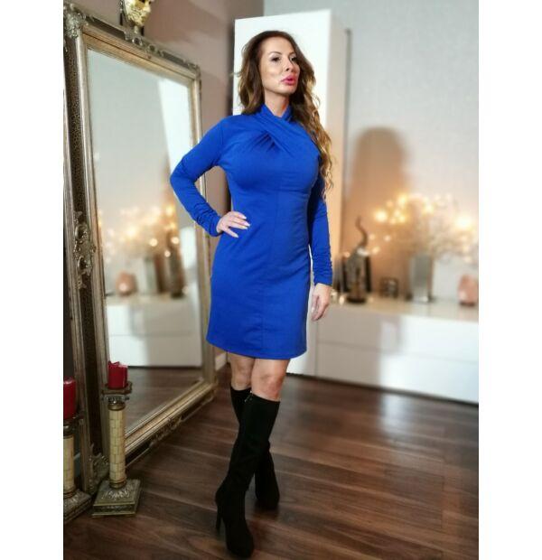 Kék  csavart , magasított  nyakú pamut ruha.