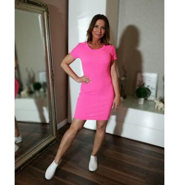 Neon pink színű bordás pamut ruha.