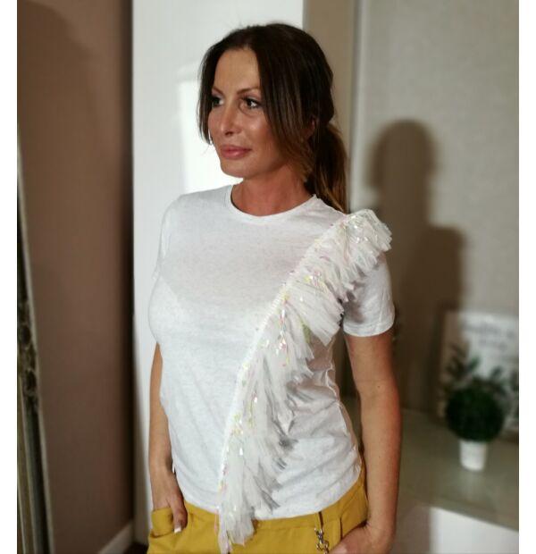 Világosszürke pamut póló, elején rojtokkal.
