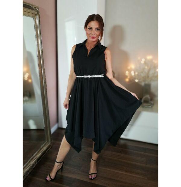 Fekete ruha, szoknya alja aszimetrikus