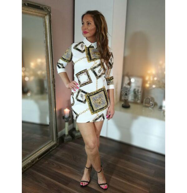 Fehér, fekete, arany, tigris mintás, fehér galléros harang szabású ruha