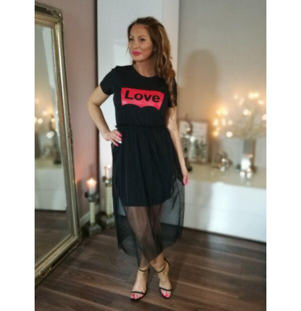 Fekete pamut ruha elején piros Love felirat, fekete tüll szoknyával
