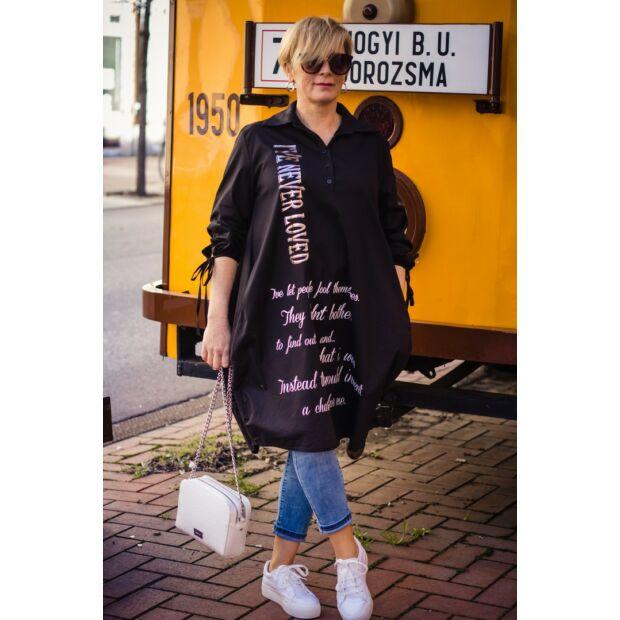 Inola fekete laza fazonú pamut-vászon ing