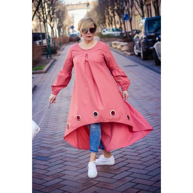 Carina lazac színű pamut-vászon tunika-ruha