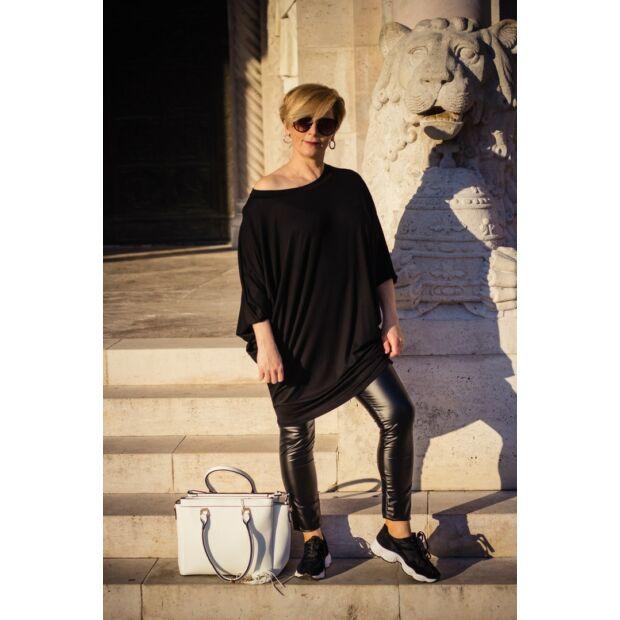 Eleonora fekete színű laza stílusú puha pamut tunika