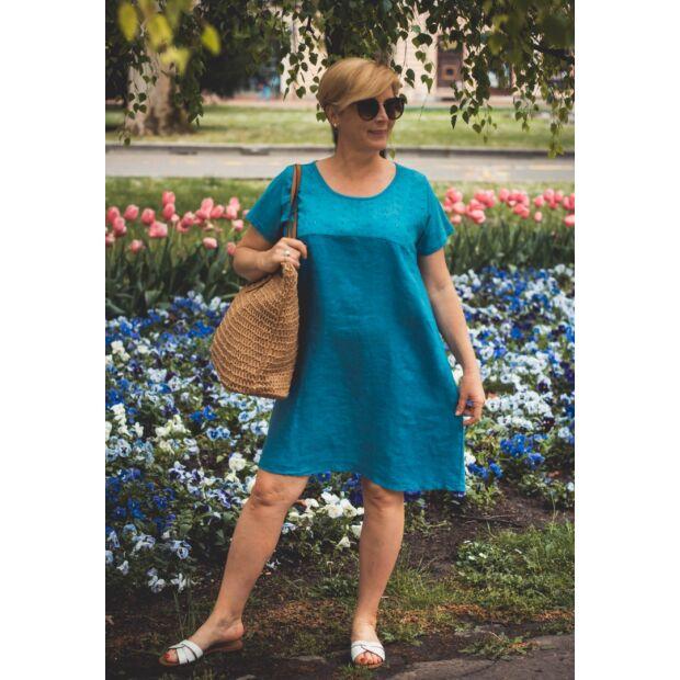 Azura kékszínű A vonalú pamut-lenvászon ruha