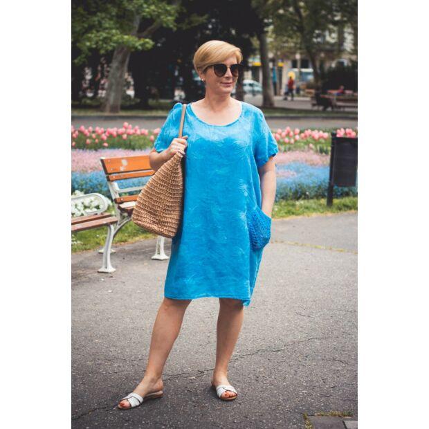 Nelly kékszínű hímzett elejű lenvászon tunika