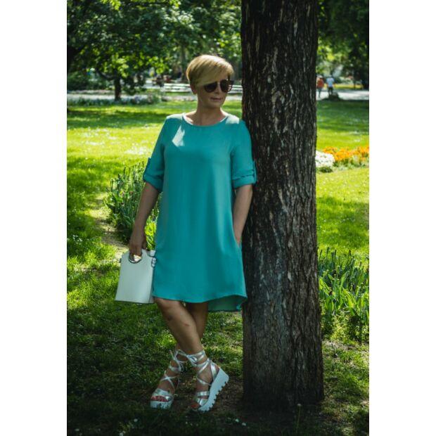 Cloé mentazöld, oldalzsebes A vonalú ruha