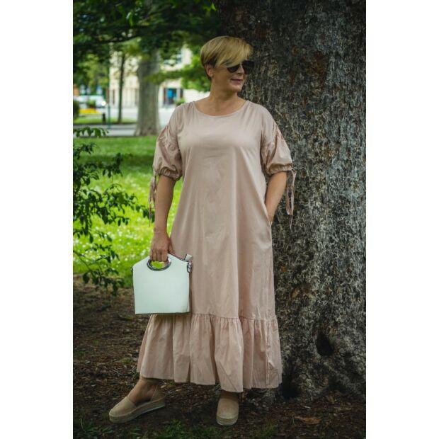 Amadé púderszínű pamutvászon maxi ruha