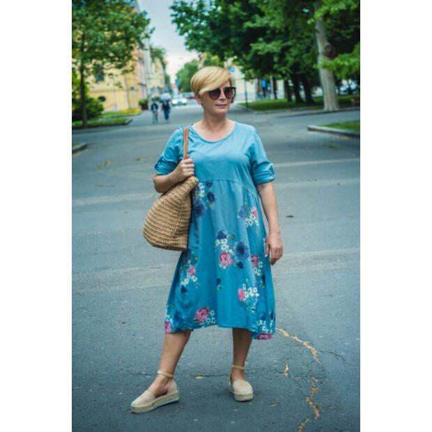 Paola laza stílusú kék pamut virágos ruha