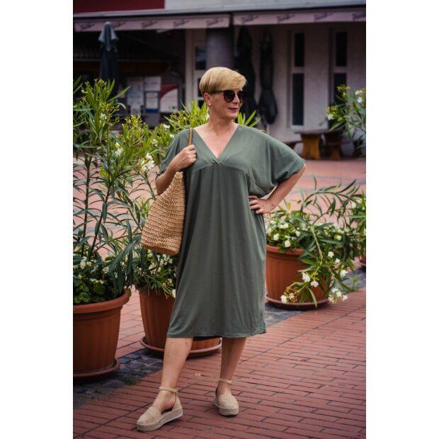 Zöld pamut laza stílusú tunika-ruha
