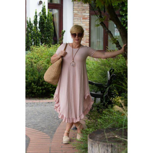 Milla púderszínű pamut, alján fodros maxi-ruha