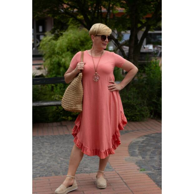 Milla lazacszínű pamut, alján fodros maxi-ruha