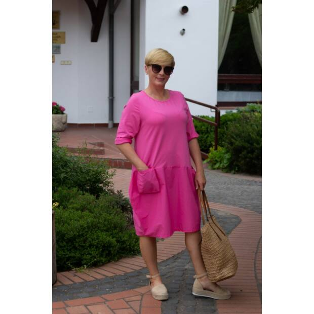 Szimóne pink, zsebes pamut tunika-ruha