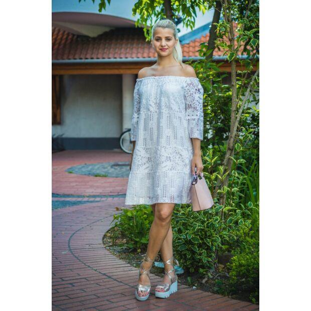 Heléna vállról lehúzható fehér csipke ruha