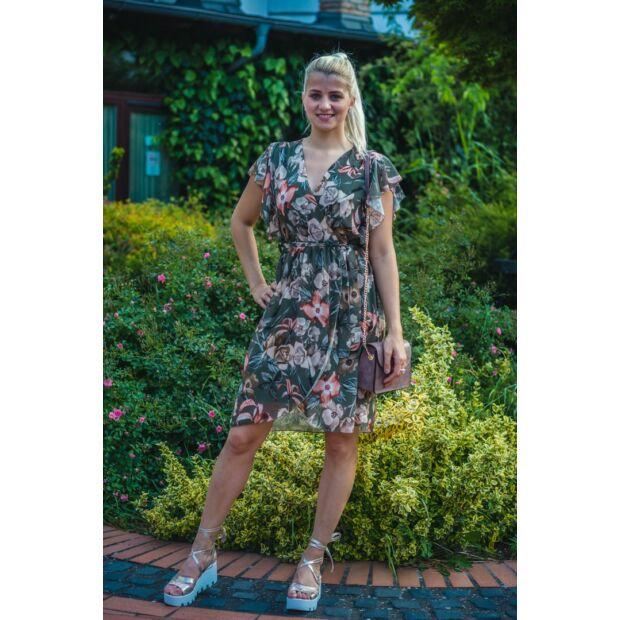 Mimi zöld alapon virágmintás muszlin ruha