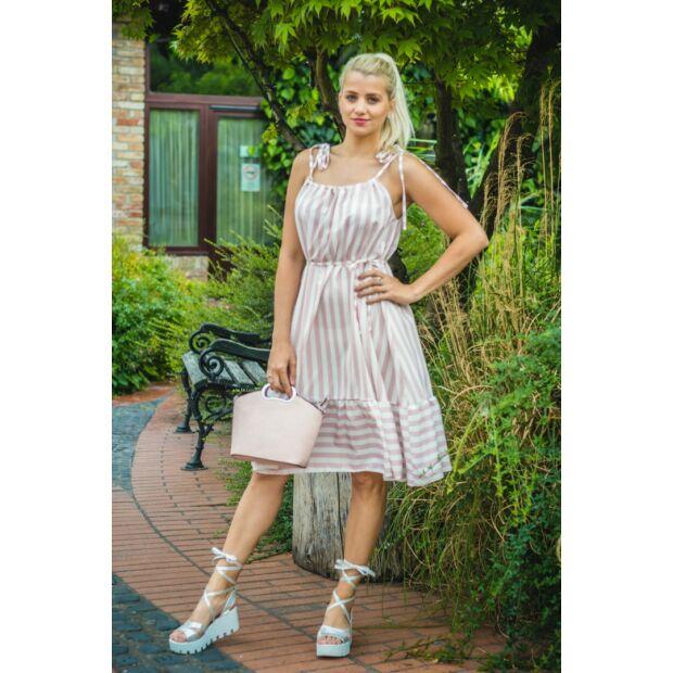 Carol púder-fehér csíkos, fodros ruha