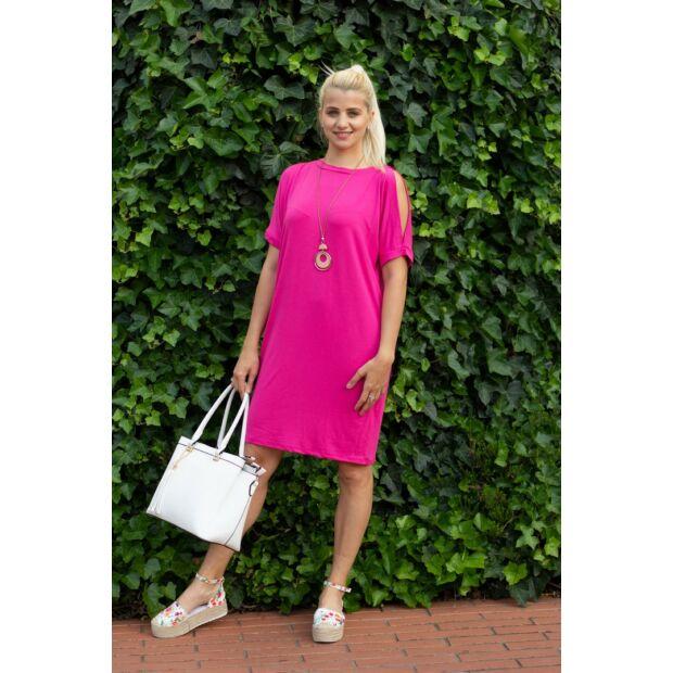 Lady pinkszínű puha pamut zsebes tunika