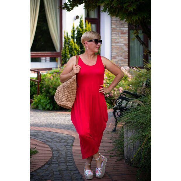 Nórina piros rugalmas pamut maxi ruha