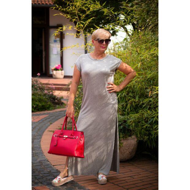 Tamarella szürke, egyenesvonalú pamut maxi ruha