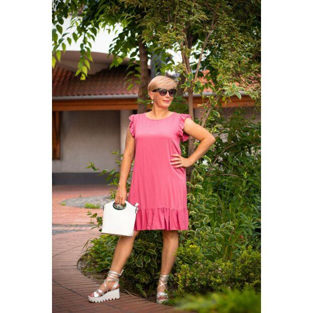 Florina lazacszínű újján, alján fodros A vonalú ruha