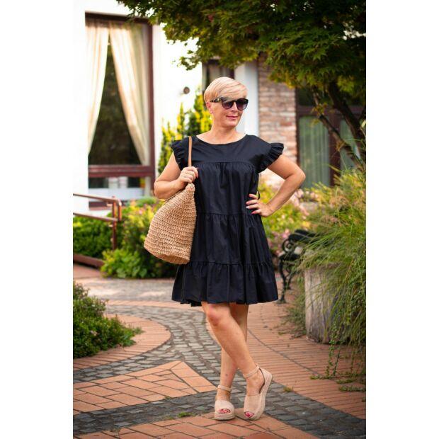 Fekete fodros A vonalú pamut-vászon ruha