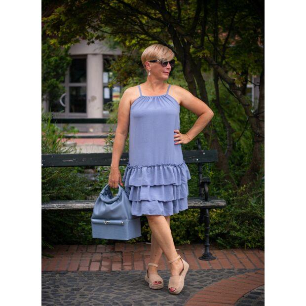 Avery kékszínű pántos, fodros ruha