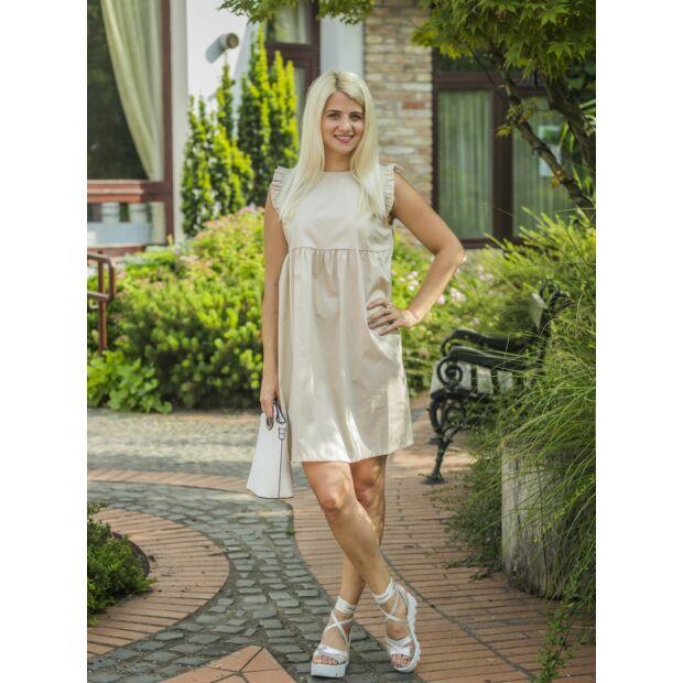 Carol bézs pamut-vászon ruha