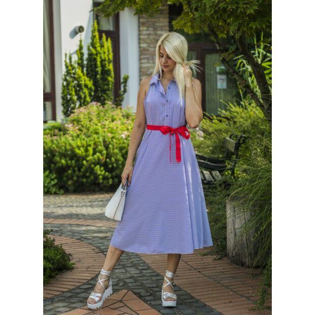 Scarlett kék-fehér csíkos pamut-vászon maxi ruha