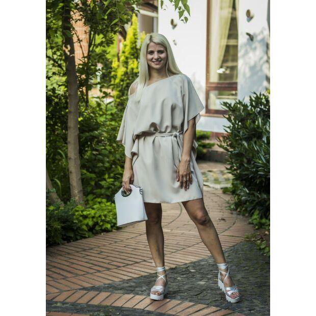 Olivia bézsszínű fodros pamut-vászon ruha