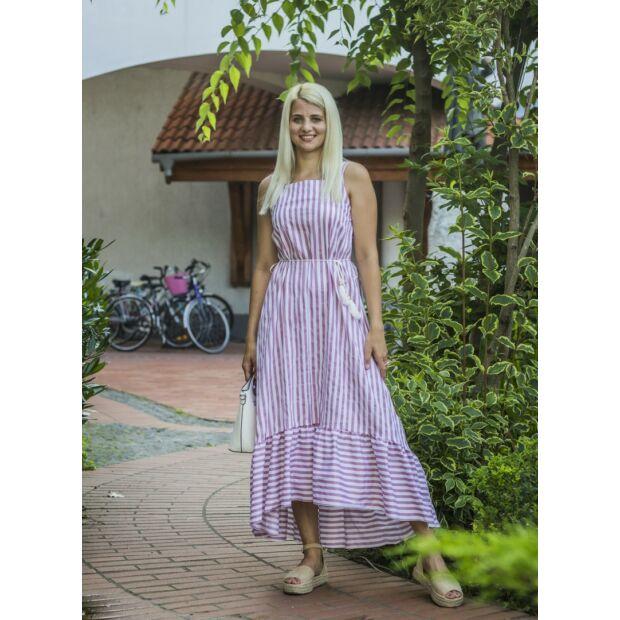 Harper púder-fehér hosszába csíkos maxi ruha