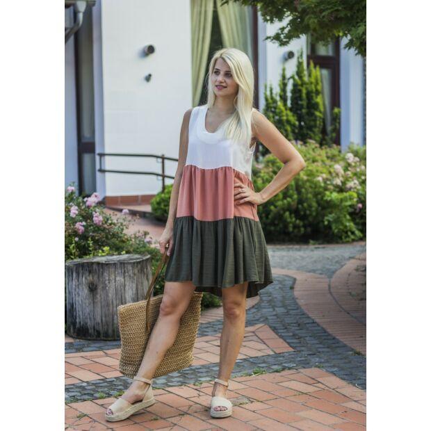 Isabelle fehér-lazac-zöld fodros ruha