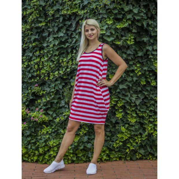 Piros-fehér csíkos tunika-ruha