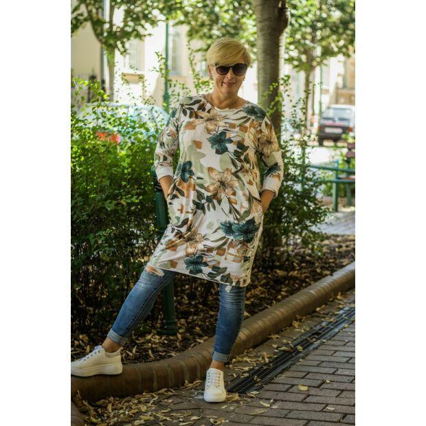Darling fehér alapon virágos csípőzsebes tunika 3/4-es ujjal