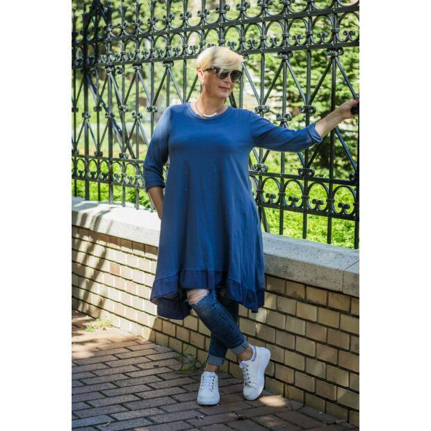 Loréna kék alján fodros A vonalú, oldalán zsebes pamut tunika