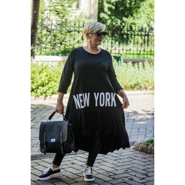 Zilia feketeszínű pamut tunika, elején New York felirattal