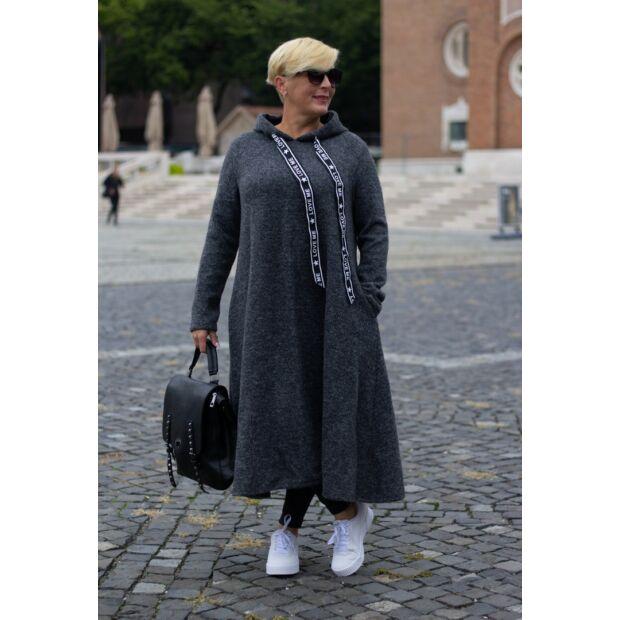 Sötétszürke maxi kötött kapucnis tunika-ruha