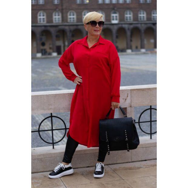 Leonetta piros végig gombos maxi ing