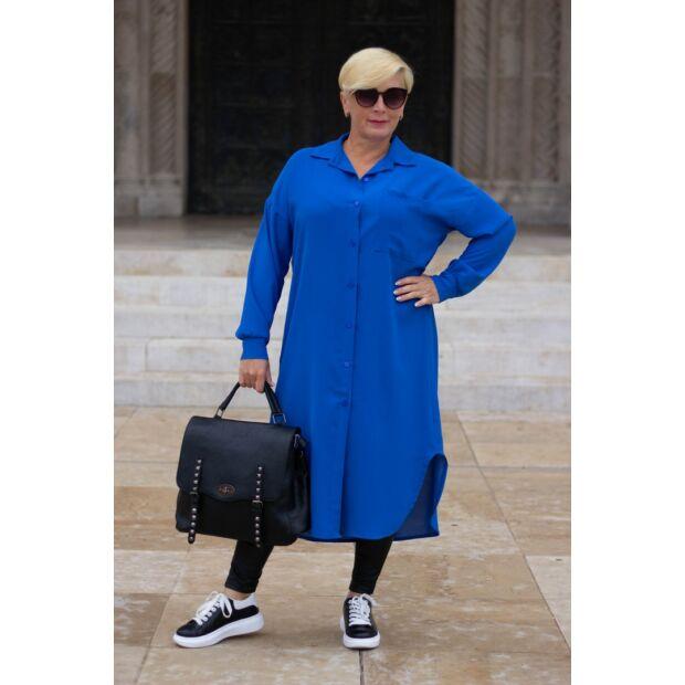 Leonetta kékszínű, végig gombos maxi ing