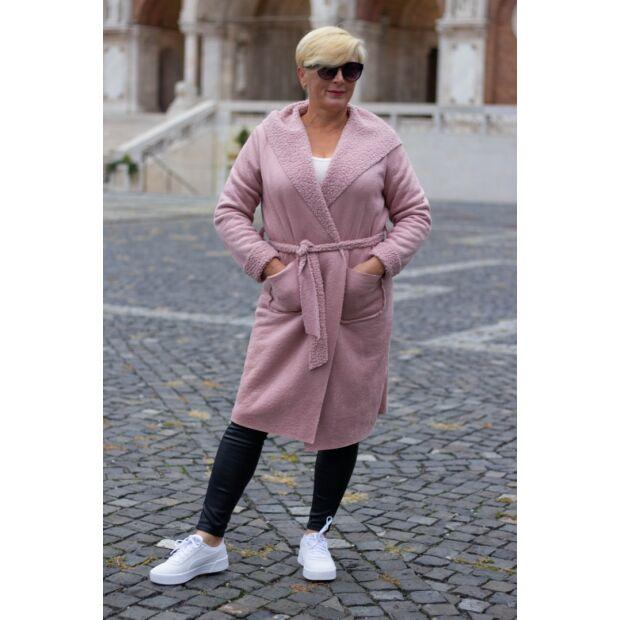 Púderszínű kapucnis, zsebes, derékrésznél megkötős kabát