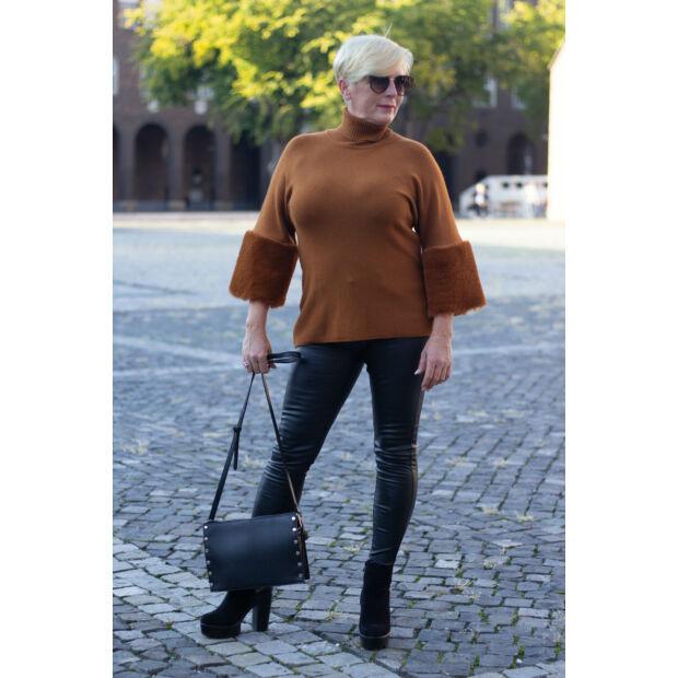 Melissa rozsdaszínű puha kötött pulóver