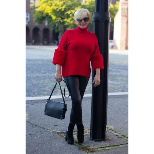 Melissa piros puha kötött pulóver