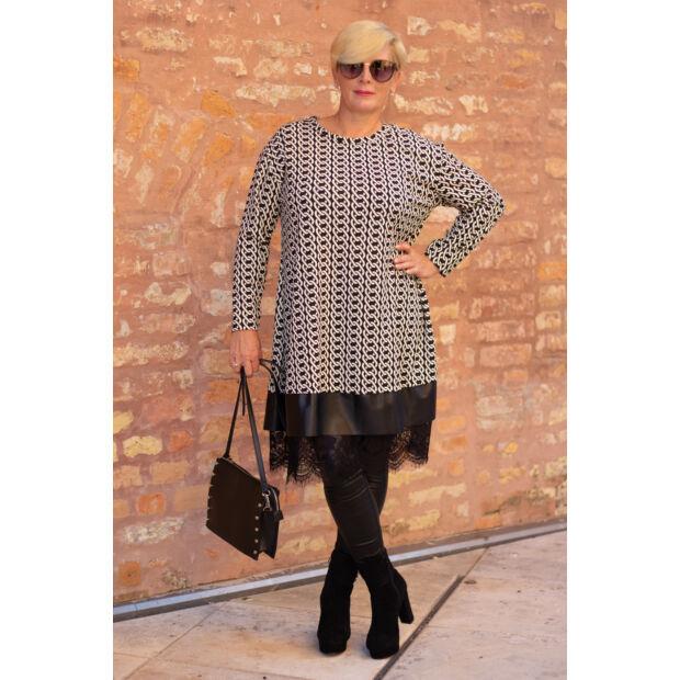 Lorena fekete alapon fehér mintás, alján bőr és csipke fodros tunika-ruha