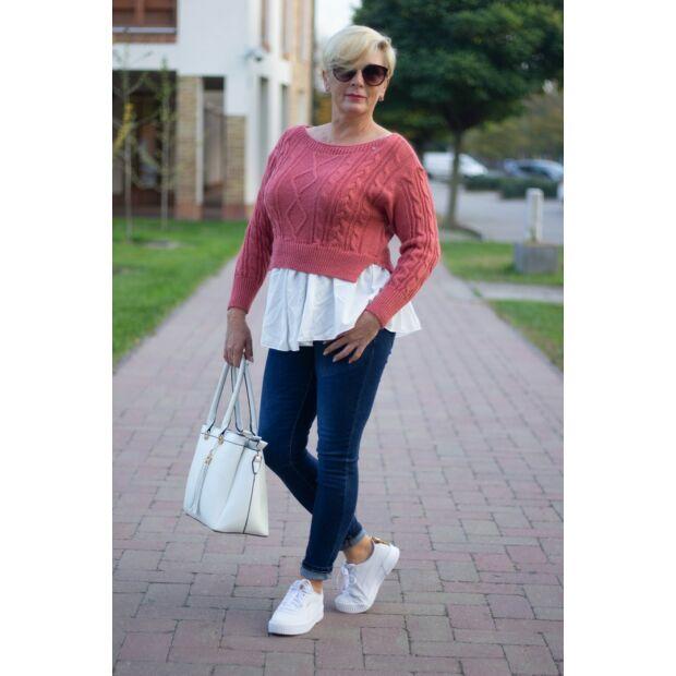 Stella koralszínű, alján fehér ing betétes kötött pulóver