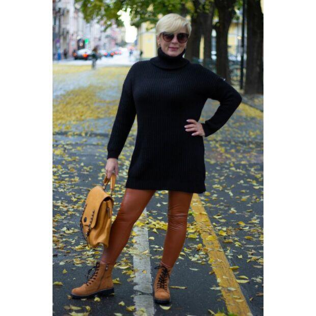 Luna fekete kötött garbó nyakú pulóver