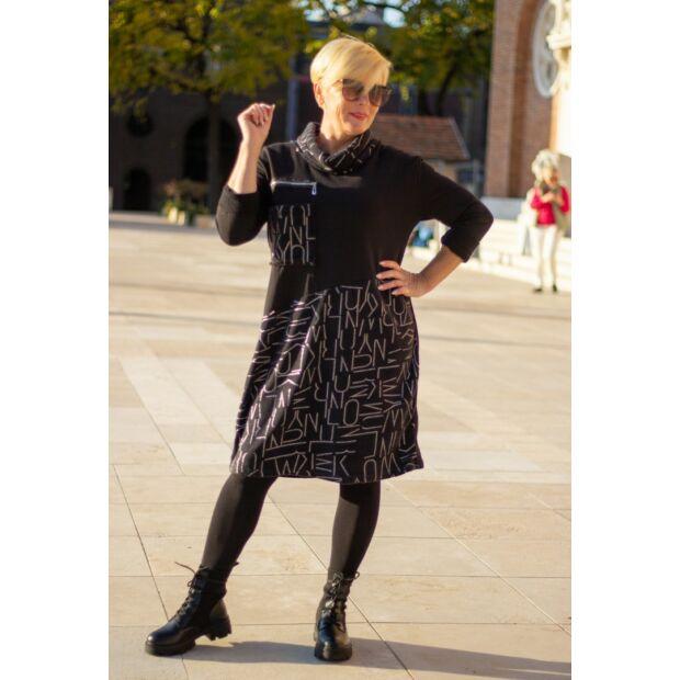 Roberta fekete alapon ezüst feliratos pamut tunika-ruha