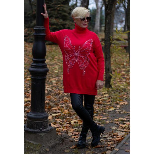 Alexa piros elején ezüst kövekkel díszített, garbó nyakú kötött pulóver